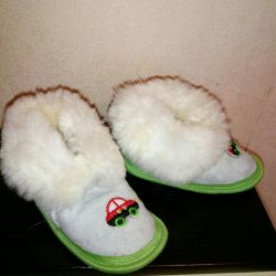 New children's leather slippers with natural fur
