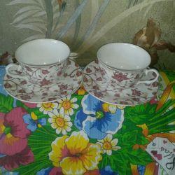 Çay çift porselen sofra
