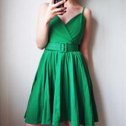Φόρεμα πράσινο sundress με μια ζώνη
