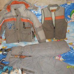 Warm three piece suit (jacket + vest + kombez)