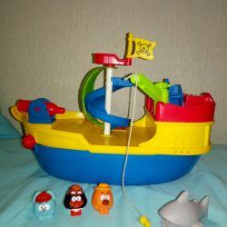 Кораблик с смешариками/ большого размера/