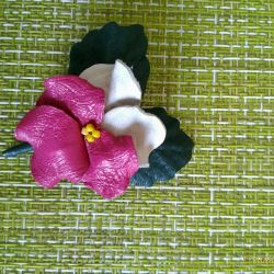 Brooch hairpin made of genuine leather