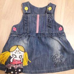Denim dress dress 9-12 months.
