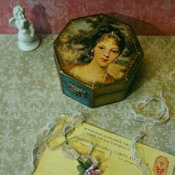Jewelry box gifts decoupage handmade vintage