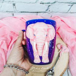 Pink Elephant. Polymer clay mug decor