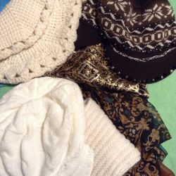 a selection of hats, scarves, kerchiefs original, new