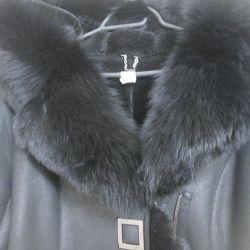 Sheepskin coat with a hood