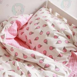 Bed linen in a cot
