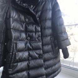 Куртка кожаная на пуху Зима Новая