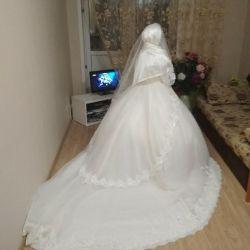 Wedding dress with long train with hijab