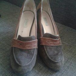 Suede παπούτσια + δέρμα 39р-р