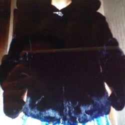 Hood ile katı vizon ceket