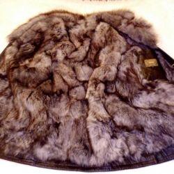 Μπουφάν, γνήσιο δέρμα, γούνα Opossum, r. 54-56
