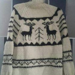 Λευκά πουλόβερ από δέρμα προβάτου