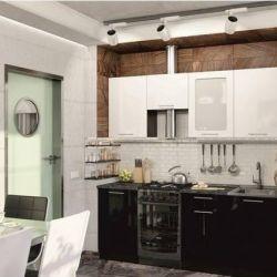 Bucătărie lucioasă metalică / domino 2,0 m