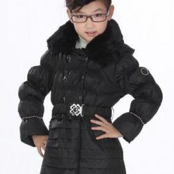 Новое пуховое пальто 5-7 лет