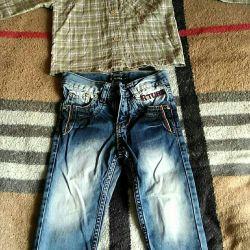 Джинсы и рубашка на 2 годика