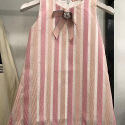 Çocuk elbise pembe çizgili