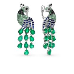 Silver earrings with chrysophrases and cubic Zirkonia