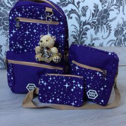 Backpack, bag, cosmetic bag set 3 in 1 purple
