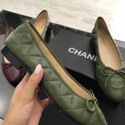 Balerinler Chanel yeşil (zeytin) deluxe