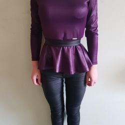 Leather jacket with basky new