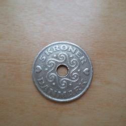 Монета Дании 5 крон 1995 -год
