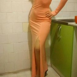 Elbise yeni şeftali rengi 42 44 46 beden