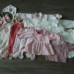 0-9 aylık kızlar için bir şeyler paketi .. Boyut 56-68
