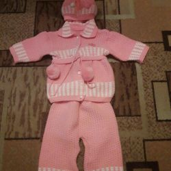 Knitted suit.