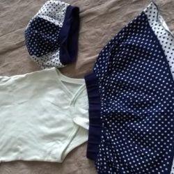 Set: Body, skirt, beret. Gzhel and peas. 2 g