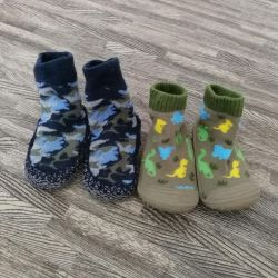 Shoes, socks with soles