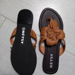 Papuci de piele noi