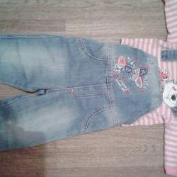 Denim overalls set