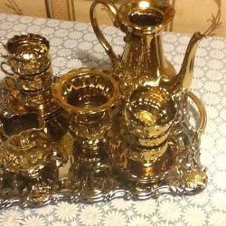 Кофейный набор в золоте 10 предметов