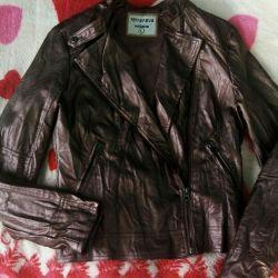 Crumpled eco-leather jacket
