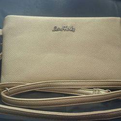 Clutch gold genuine leather