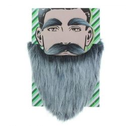 Gray beard with mustache and eyebrows