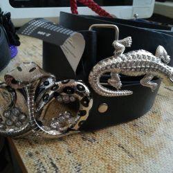 Belts with rhinestones