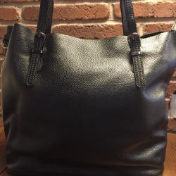 New blue black leather bag