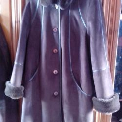 Sheepskin coat artificial with natural fur
