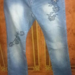 Jeans with flowers, 30 size
