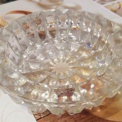 Large crystal ashtray.