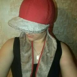 Теплая меховая кепка