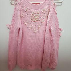 Warm new sweatshirt with beads
