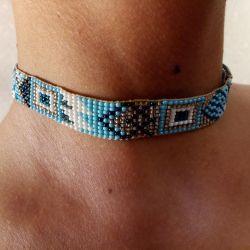 Handmade beaded bracelet and choker