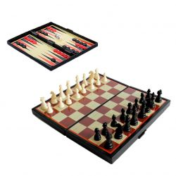3-IN-1 Checkers + Chess + Backgammon Magnetic
