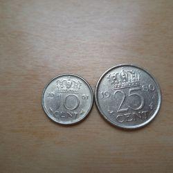 Монета 25 центов 1980 года - Нидерланды - Юлиана