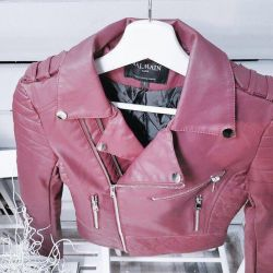 Leather jacket-crochet new