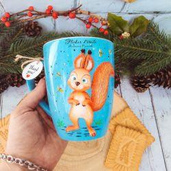 Squirrel. Polymer clay mug decor